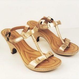 Born Crown ACALA metallic t-strap heeled sandals 8